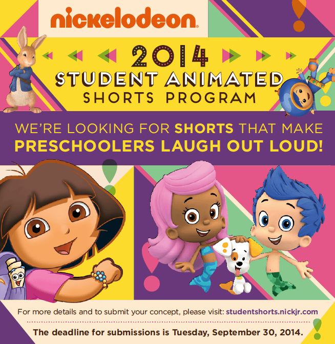 Nickelodeon 2014 Student Animated Shorts Program- DEADLINE EXTENDED to September 30th, 2014